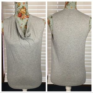 Silver Metallic Weighted Cowl Neck Sweater XS